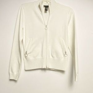 Athleta Coolmax Zipup White Sweater Medium